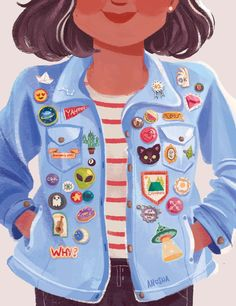 Patches and PinsSuper excited to share my piece for @lightgreyartgallery'sBower Bird exhibition which opened yesterday!The theme of the gallery show was collections and I chose to do pins;As a kid, I had a ton of obsessive collections; shells, Barbies, stickers… but my button collection stuck with me and hasn't faded with time. I'd hoard pins, broaches and patches, and stick them all onto this tiny denim vest. It's kind of like covering yourself with little works of art...