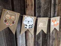 Woodland Party Banner Baby Shower Birthday por BlueOakCreations