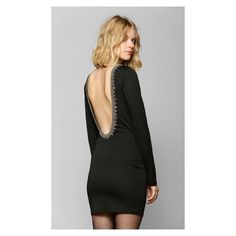 Black Sparkle Beaded Open Back New Years Eve Dress Stretchy fitted mini dress from Glamorous with bead and sequin embellishment along the front and deep scoop-back   Perfect for NYE or a company Christmas party   NWT   Sorry no trades Urban Outfitters Dresses Backless
