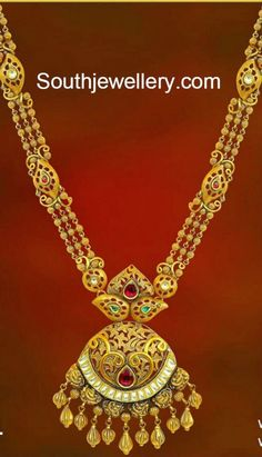 Gold Long Chain latest jewelry designs - Page 8 of 45 - Indian Jewellery Designs Gold Mangalsutra Designs, Gold Jewellery Design, Gold Jewelry, Diamond Jewellery, Trendy Jewelry, Bridal Jewelry, Jewelry Art, Beaded Jewelry, Delicate Gold Necklace