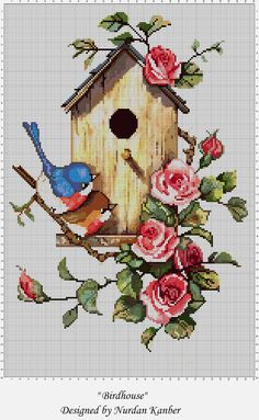 """Birdhouse"" adapted and designed by Nurdan Kanber Original painting by ""Carolyn Shores Wright"" ""Blue Birds"" Cross Stitch Pictures, Cross Stitch Love, Cross Stitch Charts, Cross Stitching, Cross Stitch Embroidery, Embroidery Patterns, Modern Cross Stitch Patterns, Cross Stitch Designs, Cross Stitch Freebies"