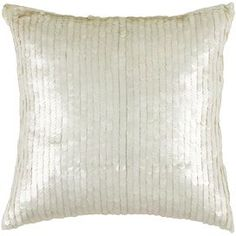 """Sequined cotton pillow.      Product: PillowConstruction Material: Cotton and sequin cover and siliconized polyester fiber fillerColor: Ivory     Features: Insert included  Dimensions: 18"""" x 18""""  Cleaning and Care: Hand wash in cold water with mild detergent"""