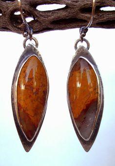 Earrings  Sterling Silver  Agate Jasper  Lapidary  by rmddesigns,