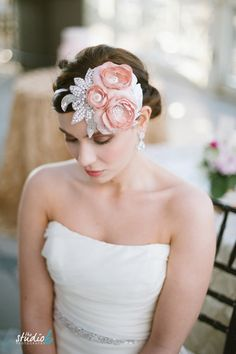 Blush Dupioni Silk Mini Hat with Sparkle As Seen On Style Me Pretty on Etsy, $155.00