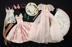 """The Doll Collection of Huguette Clark - Hardbound Edition - January 196 Costumes for """"Cissy"""" Doll by Madame Alexander Dolly Dress, Barbie Dress, Doll Costume, Costumes, Vintage Madame Alexander Dolls, Clothing Labels, Vintage Dolls, Cotton Dresses, Fashion Dolls"""