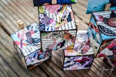 Collage wood block photo holder