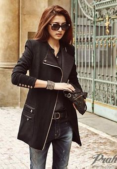 City- dress it up or wear for a casual style Leather Lace Up Boots, Leather Jacket, Tattered Jeans, Winter Wear, Coats For Women, Korean Fashion, Fall Outfits, My Style, Casual
