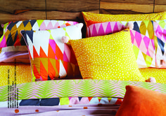 Kip & Co, 'Croc Orange' quilt cover and pillowcases, 'Spots Yellow' pillowcases and sheets