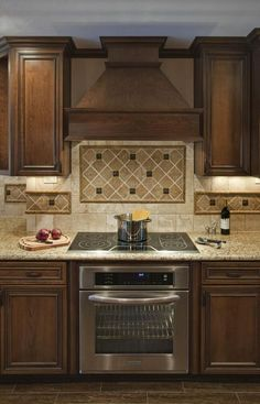 backsplash ideas for under range hood | ... Tops Along With Wooden Vent Hood And Diagonal Tile Kitchen Backsplash