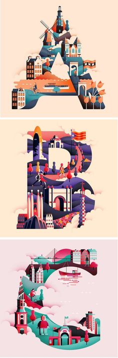 Illustration / This clever typographic collection uses each letter in the alphabet to visually represent a different city around the world. Illustration Design Graphique, Illustration Inspiration, Typography Inspiration, Graphic Design Inspiration, Digital Illustration, City Illustration, Illustration Styles, Creative Illustration, Graphic Design Projects