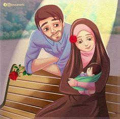 Love Cartoon Couple, Cute Couple Art, Anime Love Couple, Couple Dps, Cute Muslim Couples, Muslim Girls, Cute Couples, Muslim Women, Couple With Baby