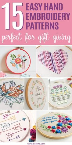 We've found these 15 easy hand embroidery patterns that are not only great for beginners, they're also perfect for gift giving. We've found these 15 easy hand embroidery patterns that are not only great for beginners, they're also perfect for gift giving. Learn Embroidery, Hand Embroidery Stitches, Crewel Embroidery, Embroidery For Beginners, Embroidery Hoop Art, Hand Embroidery Designs, Sewing For Beginners, Embroidery Techniques, Ribbon Embroidery