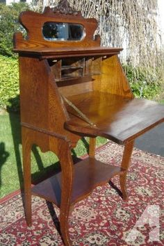 Antique Oak Las Drop Front Writing Desk With Mirror And Key Charlotte For