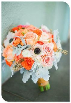 no orange; anenomes and peach flowers with more cream and some navy bits; rope around stem; ferns (natural bits)