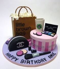 Eclectic Cake Collection:The Victoria& Secret box, the Bloomingdale& shopping bag and the Chanel makeup purse are all cake. The Starbucks cup is RKT covered in fondant. The makeup and makeup brush are gumpaste. Pretty Cakes, Cute Cakes, Beautiful Cakes, Amazing Cakes, Teen Cakes, Girly Cakes, Fancy Cakes, Birthday Cakes For Teens, My Birthday Cake