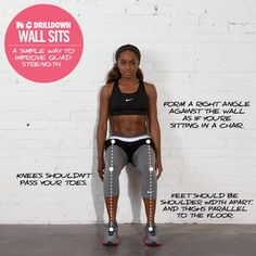 WallSit - A Great Strength #Exercise For Your Core  http://30dayfitnesschallenges.com/how-to-do-a-wall-sit-exercise/ #30DFC