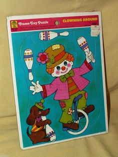 Clown Puzzle Dog Merrigold Press Frame Tray Clowning Around Sealed 1973 4595-1A #MerrigoldPress