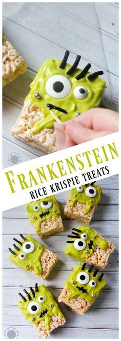 Frankenstein Rice Krispie treat recipe - a Halloween Holiday Rice Krispie Monster Recipe that is FUN and HILARIOUS!