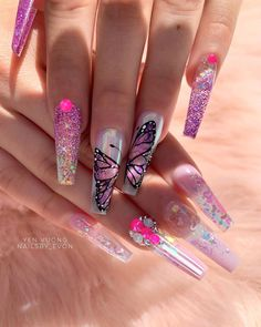 70 Alluring acrylic coffin nails design for long nails! Simple Acrylic Nails, Cute Acrylic Nail Designs, Long Nail Designs, White Acrylic Nails, Best Acrylic Nails, Summer Acrylic Nails, Nail Art Designs, Nails Design, Beautiful Nail Art