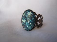 Oval Nail Polish Ring  Black With Aqua And by simplyborncrafty, $7.99
