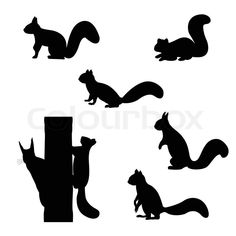 Illustration of Set of silhouettes of squirrels. vector art, clipart and stock vectors. Squirrel Silhouette, Animal Silhouette, Silhouette Design, Silhouette Painting, Silhouette Cameo Projects, Autumn Crafts, Autumn Art, Moldes Halloween, Yule