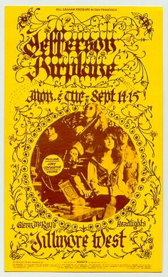 Classic Poster - Jefferson Airplane at Fillmore West 9/14-15/70 by Pat Hanks