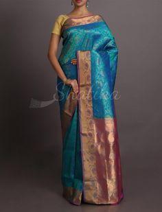Saleema Blues And Pink Brocade Stylish #WeddingSilkSaree