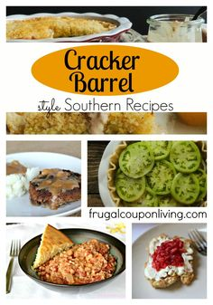 Copycat Cracker Barrel Recipe Round-Up – Southern Style Comfort Food. Details on… Copycat Cracker Barrel Recipe Summary – Southern Style Comfort Food. Details on Frugal Coupon Living Cracker Barrel Recipes, Great Recipes, Favorite Recipes, Yummy Recipes, Soup Recipes, Chicken Recipes, Copykat Recipes, Famous Recipe, Southern Recipes