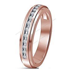 Mens Jewelry 14K Rose Gold Plated 0.50ct Princess Cut Simulated Diamond /& CZ Lab Created Pink Sapphire Bridal Anniversary Wedding Band Ring