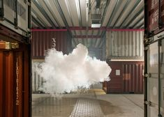 Smilde creates his clouds by using a fog machine that pumps out aerogel, or frozen smoke, a material consisting of 99.8% air and said to be the lightest solid material on earth.