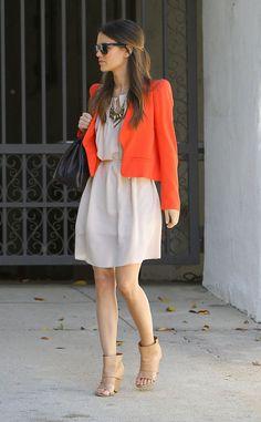 Rachel Bilson white dress gold statement necklace orange jacket nude heels