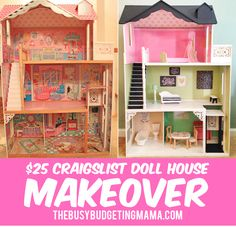 I was so excited when Santa... found this dollhouse on craigslist for $25(including the furniture) MAKEOVER TIME! Because of theincredible amount of interest via social media, I made a video to show the details!