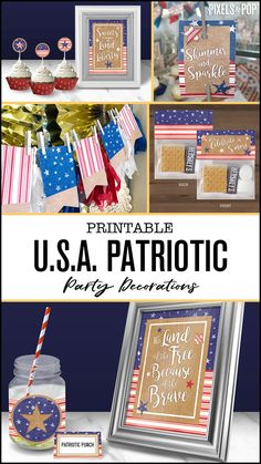 Celebrate the good Ol' U.S.A at a Summer BBQ, on Memorial Day, 4th of July, Labor Day or Veteran's Day with this collection of printable patriotic decorations!  #PatrioticDecor #PatrioticParty #4thOfJuly #4thOfJulyIdeas #4thofJulyDecorations #July4th #MemorialDay #MemorialDayWeekend #LaborDay #LaborDayWeekend #4thOfJulyParty #RedWhiteAndBlue #StarsAndStripes #SummerParty #July4thPrintables #starsandstripes #VeteransDay #RedWhiteAndBlue #IndependenceDay
