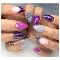 Grey & Purple Almond Nails @MargaritasNailz
