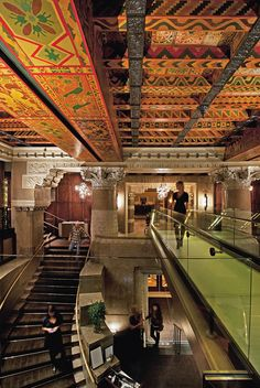 Michael Jordan's occupies the second floor of the InterContinental Chicago hotel, where a bridge spans the open space over the hotel lobby.  - Anthony Tahlier