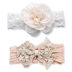 Baby Girl Bows, Girls Bows, Baby Girl Hair Accessories, Bridal Accessories, Lace Headbands, Newborn Headbands, Lace Bows, Taupe, Stretchy Material