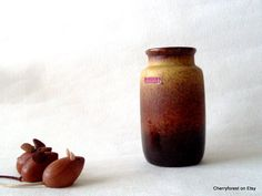 Vintage Scheurich vase 231-15 with mixed glaze, West Germany Mid Century Modern by Cherryforest on Etsy
