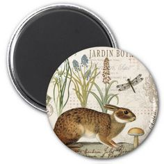 Shop modern vintage french rabbit in the garden magnet created by GIFTSBYHEATHERMYERS.