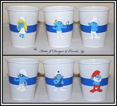 Cup Stickers Smurfs Party #Smurfs #unisex #Boy #Boys #Kids #Birthday #Decorations #KidsParty #Party #PartyIdeas #Banners #Cupcakes #banner #Personalised #Supplies #KatieJDesignAndEvents #Bunting #Custom