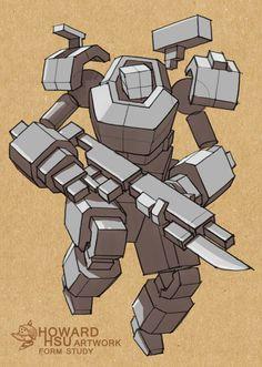 ArtStation - Cyborg - form study, Howard Hsu Fantasy Character Design, Character Design Inspiration, Character Concept, Character Art, Robot Concept Art, Robot Art, Star Wars Bb8, Robots Drawing, Arte Peculiar