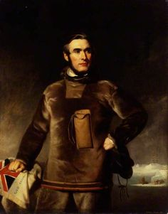 Portrait of William Penny, 1853 by Stephen Pearce (British 1819-1904)...Penny played a major part in the search for Sir John Franklin and the crews of the Erebus and Terror, who were lost in the Arctic during an attempt to discover the Northwest Passage.  On Beechey Island he found traces of Franklin's winter quarters but none of the 129 members of the expedition....his Arctic suit looks as if they were made from sealskin.