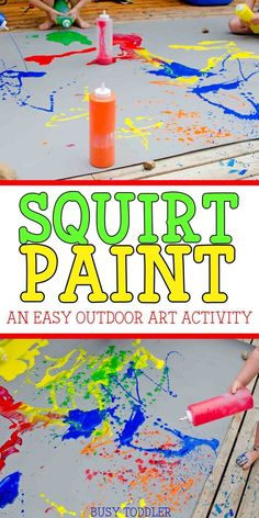Squirt Paint Process Art: A perfect outdoor art activity for toddlers and preschoolers; easy art activity; spatter paint