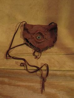 Handmade Rusty Brown Leather Eye Purse