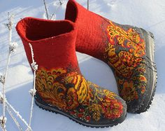 White Felted Winter Boots 100% WOOL Russian by FeltZeppelin