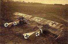 Fokker aircraft on standby, 1917.