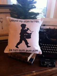 Little Drummer Boy Decorative Pillow Silhouette by burlapandgrain Days To Christmas, Rustic Christmas, Christmas Presents, White Christmas, Christmas Decorations, Xmas, Holiday Decor, Christmas Ideas, Christmas Stuff