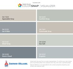 I found these colors with ColorSnap® Visualizer for iPhone by Sherwin-Williams: Agreeable Gray (SW 7029), Let it Rain (SW 9152), Aloof Gray (SW 6197), Storm Cloud (SW 6249), Comfort Gray (SW 6205), Colonnade Gray (SW 7641), Sea Salt (SW 6204), Krypton (SW 6247).