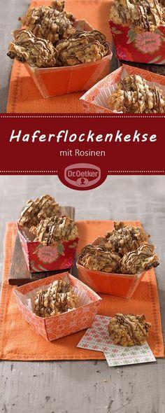 Haferflockenkekse: Kernige, saftige Plätzchen mit Rosinen