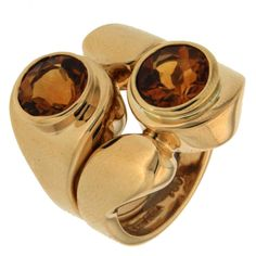 Asymmetrical Citrine Gold Ring | From a unique collection of vintage fashion rings at https://www.1stdibs.com/jewelry/rings/fashion-rings/