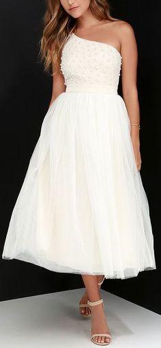 Glamour Girl Cream Beaded One Shoulder Dress